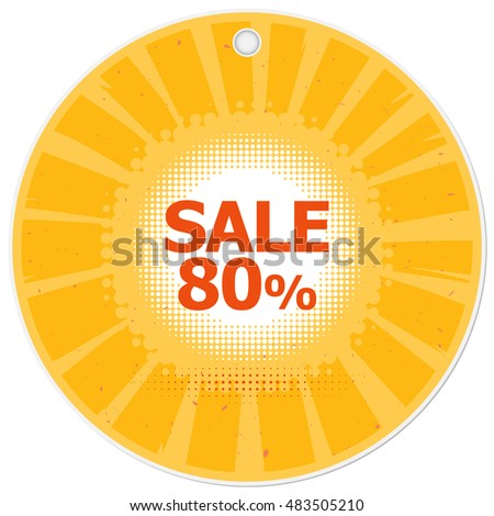 Discount Price Label Template Yellow Round Stock Vector Royalty