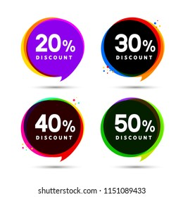 Discount price sale bubble banners. Price tags label. Special offer flat promotion sign design.