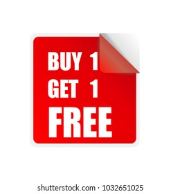 Discount price tags. Vector. buy 1 get 1 free