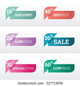 Discount and price tags for web or print, with modern color