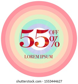 Discount Promotion Sale Banner, 55% Off. Season Sale design in golden typography in colourful background. - Vector
