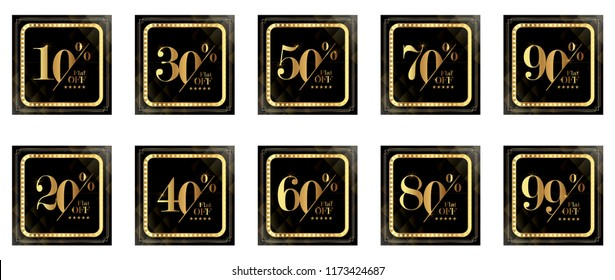 Discount Promotion Sale Banner, Upto 10 20 30 40 50 60 70 80 90 99 percent OFF Special Offer Ad.  Vector Banner. Price Discount Offer. Season Sale design in golden typography in black background.