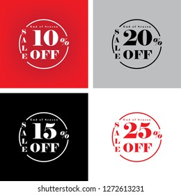 Discount Promotion Sale Banner, Upto 10 20 15 25 percent OFF Special Offer Ad.  Vector Banner. Price Discount Offer. Season Sale design in English typography with black background.