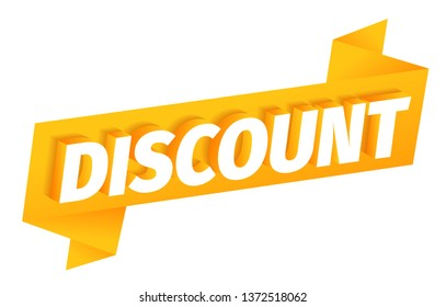 Discount ribbon word. 3d letters on a orange golden background. Advertising promotion poster special offer, call for purchases. Vector color Illustration clipart.