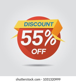 Discount Sale up to 55% off template vector