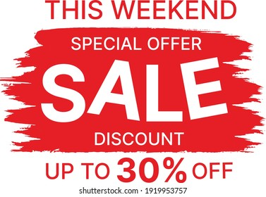 Discount Sale Banner 30% off Weekend Offer