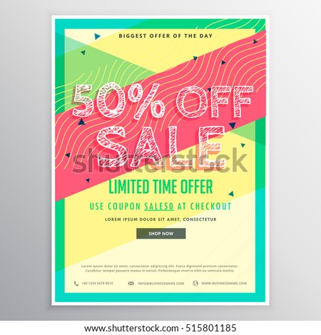 discount sale brochure template marketing colorful stock vector