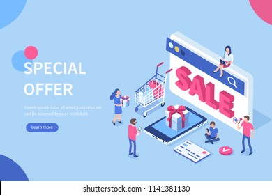 Discount sale  concept with characters. Can use for web banner, infographics, hero images. Flat isometric vector illustration isolated on white background.
