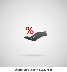 Discount and sale concept represented by percentage sign. Vector icon of percentage sign in hand.
