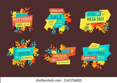 Discount and sale logos, autumn leaves or branches. Price reduction with off, special shopping offer for fall emblems vector illustrations isolated.