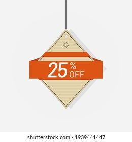 Discount sale tag label 25 off vector