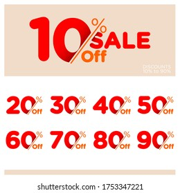 Discount Sale talkers or tags set, 10, 20, 90, 80, 30, 40, 50, 60, 70, 80, 90 percent off. Sale and discount labels