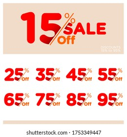 Discount Sale talkers or tags set, 15, 25, 35, 45, 55, 65, 75, 85, 95 percent off. Sale and discount labels