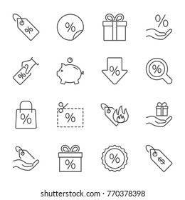 Discount and sales set of vector icons line style