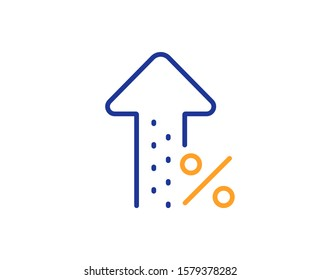 Discount sign. Increasing percent line icon. Credit percentage growing symbol. Colorful outline concept. Blue and orange thin line increasing percent icon. Vector