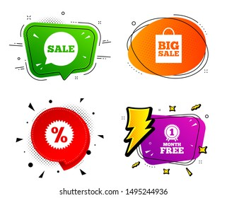 Discount star symbol. Banner badges, various colors. Sale speech bubble icon. Big sale shopping bag sign. First month free medal. Chat bubble vector shape. Gradient banner. Price tag. Vector