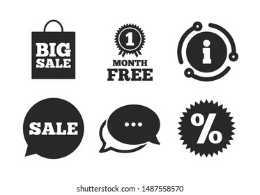 Discount star symbol. Chat, info sign. Sale speech bubble icon. Big sale shopping bag sign. First month free medal. Classic style speech bubble icon. Vector