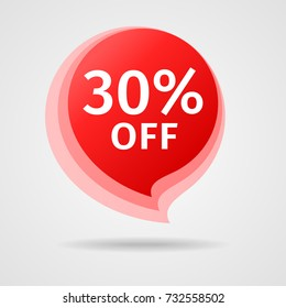Discount Sticker with 30% Off. Sale Red Label Vector Illustration. Isolated Offer Price Tag. Creative Symbol Templates