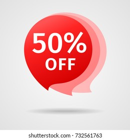 Discount Sticker with 50% Off. Sale Red Label Vector Illustration. Isolated Offer Price Tag. Creative Symbol Templates