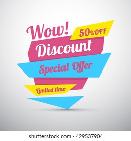 Discount sticker. Special offer vector isolated. Price label. Advertisement tag. Sale poster.