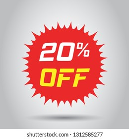 Discount sticker vector icon in flat style. Sale tag sign illustration on white background. Promotion 20 percent discount concept.