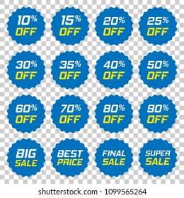 Discount stickers vector icon in flat style. Sale tag sign illustration on isolated transparent background. Promotion 10, 15, 20, 25, 30, 35, 40, 50, 60, 70, 80, 90 percent discount concept.