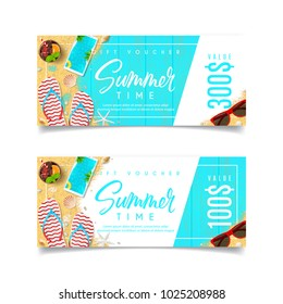 Discount Summer Gift Voucher. Design of coupon usable for invitation and ticket. Top view on holiday decoration on wooden texture. Vector illustration with seasonal offer.