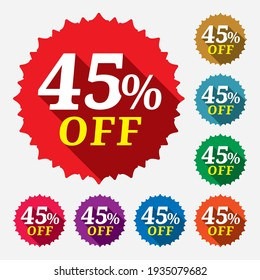 Discount tag with 45%. Discount tag for an advertising campaign at retail on the day of purchase. Sale of special offers. Vector illustration