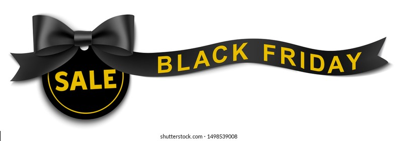 Discount tag with decorative long black ribbon and bow isolated on white background. Black Friday Sale design. Vector illustration