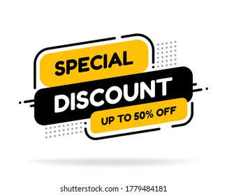 Discount tag with special offer sale sticker. Sale label with advertise offer design template. Sticker sign price isolated modern graphic style vector illustration.