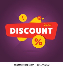 Discount tag with special offer sale sticker. Promo tag discount offer layout. Sale label with advertise offer design template. Sticker sign price isolated modern graphic style vector illustration.