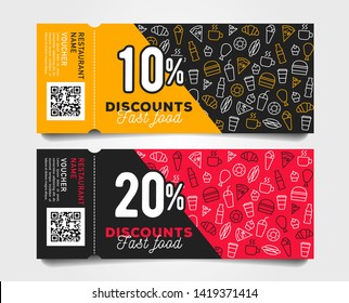 Discount tear-off coupons with barcode fast food template design with linear pattern of food and drinks