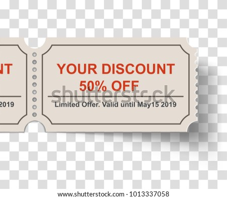 discount tearoff ticket shadow on white stock vector royalty free