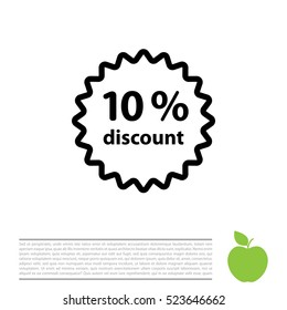 Discount ten (10) percent circular icon