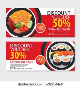 Discount voucher asian food template design. Japanese set