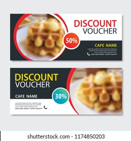 Discount voucher dessert waffle in template design.