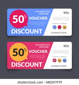 Discount Voucher market Design Template with colorful halftone pattern, Gift Voucher Certificate Coupon Template layout, gift certificate special business card, banner, vector illustration