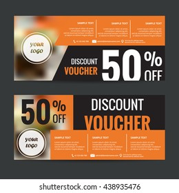 Discount voucher orange color ,Vector illustration