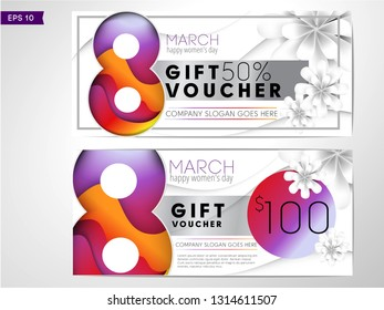 Discount voucher template 8march. Happy woman's day sale banner