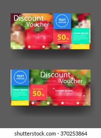 Discount voucher template with clean and modern pattern, With blurred background fruits and vegetables, Vector illustration