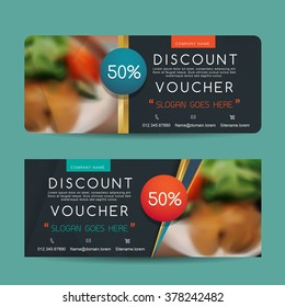 discount voucher template with clean and modern pattern and place for your business related photos. Vector illustration