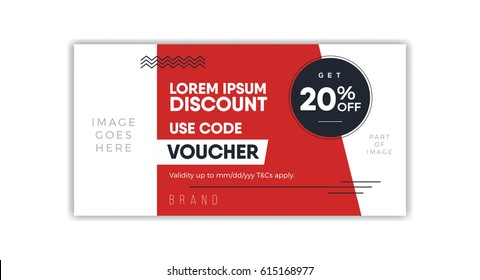 Discount Voucher template, coupon design, ticket, banner. Modern, minimal, simple & luxury standard layout concept.