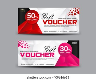 Discount Voucher template, coupon design,ticket, banner template,polygon background