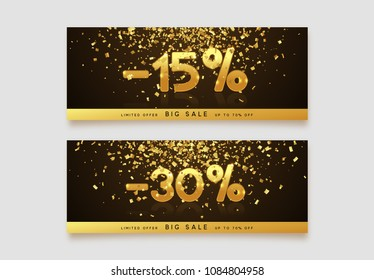 Discount voucher template design with gold confetti tinsel. Coupon card, sale banner template. 15, 30 percent Vector illustration