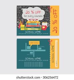 Discount voucher template design for tutoring school and or school stuff store