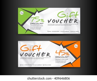 orange green gift voucher template coupon のベクター画像素材