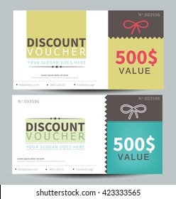 Discount voucher template, flat design