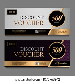 Discount voucher template with gray and purple certificate. Background design coupon, invitation, currency. Set of stylish gift card, coupon.