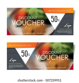 Discount voucher template with modern pattern and place for your business related photos.Restaurant. Vector illustration