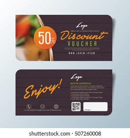 Discount voucher template with premium pattern and place for your business related photos.Restaurant. Vector illustration